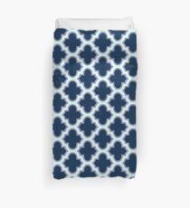 Navy Blue Moroccan Quatrefoil Pattern Duvet Cover