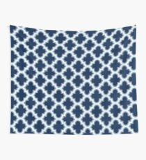 Navy Blue Moroccan Quatrefoil Pattern Wall Tapestry
