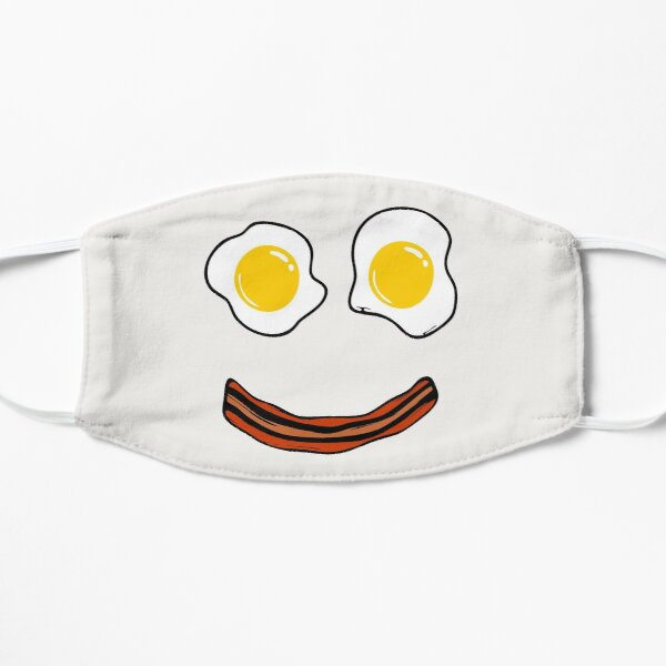 Bacon and Eggs Funny Happy Face Breakfast Smiley Face  Mask