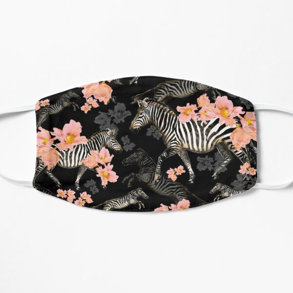 Zebras and Coral Poppies - black background Mask