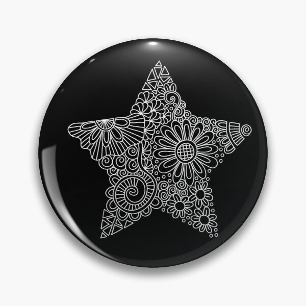 White Star Doodle Pin