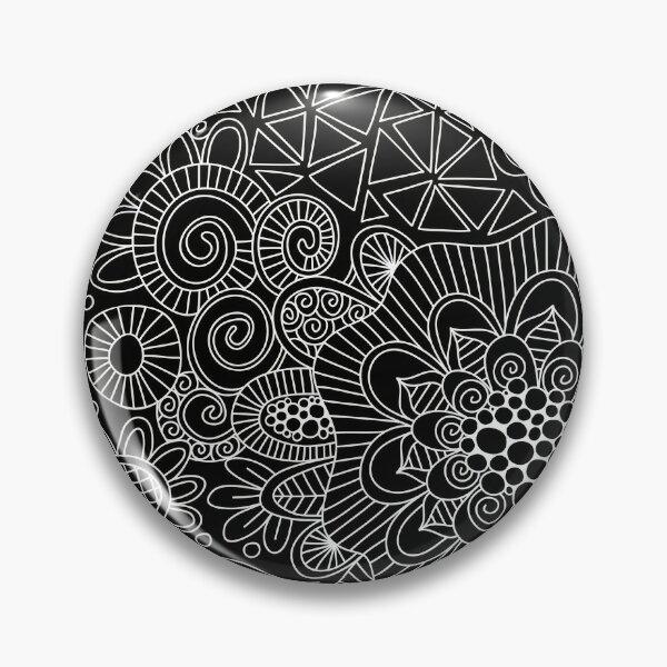Black Doodle Pattern Pin