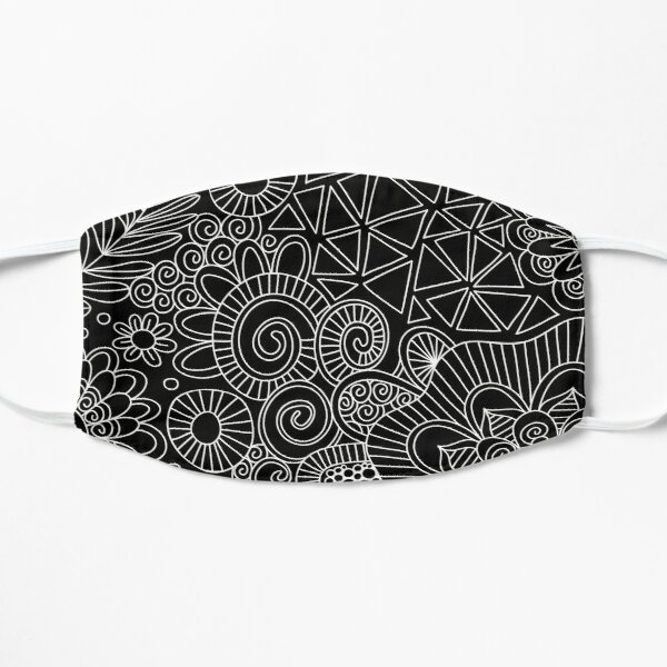 Black Doodle Pattern Flat Mask