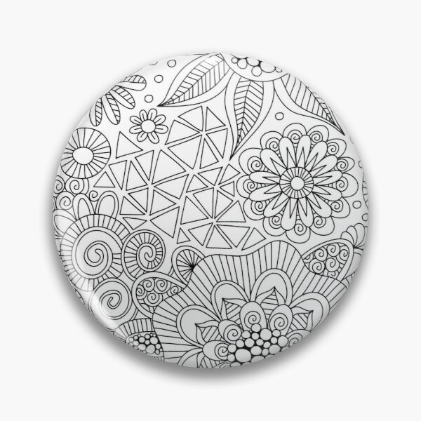 Black and White Doodle Art Pin