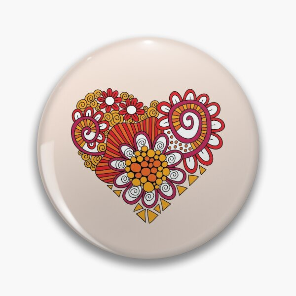 Bright Heart Doodle Pin