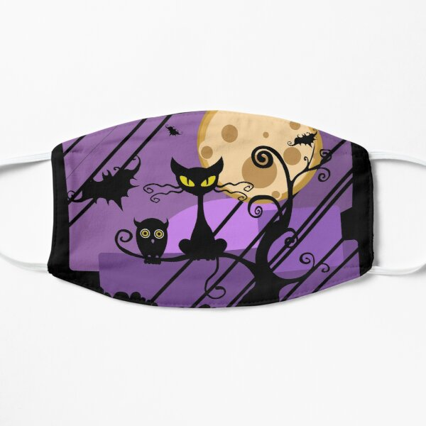 SPOOKY CAT HALLOWEEN NIGHT Flat Mask