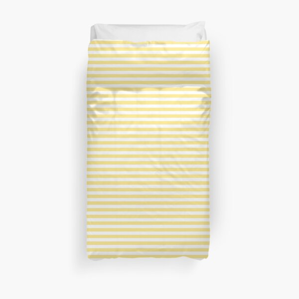 Yellow And White Horizontal Stripes Duvet Cover