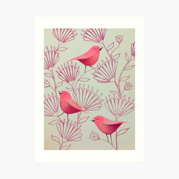 Pink birdies Art Print