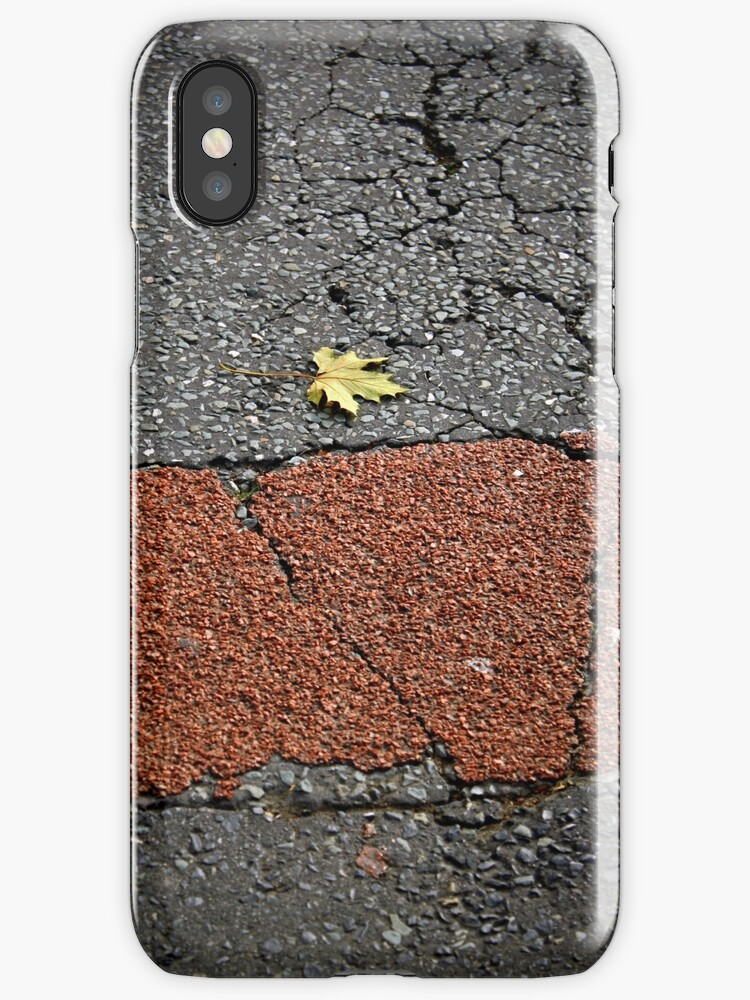 Leaf on road iPhone case by Esther  Moliné