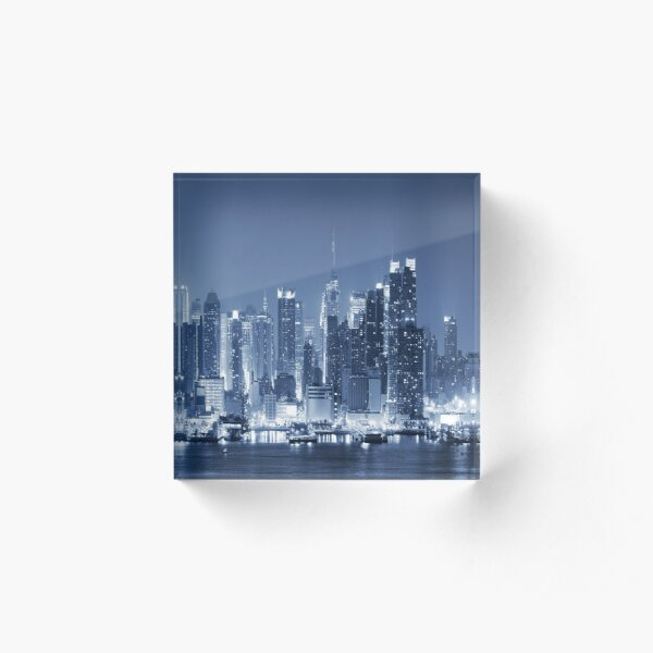 Panoramic New-York City Manhattan Night Skyline Acrylic Block