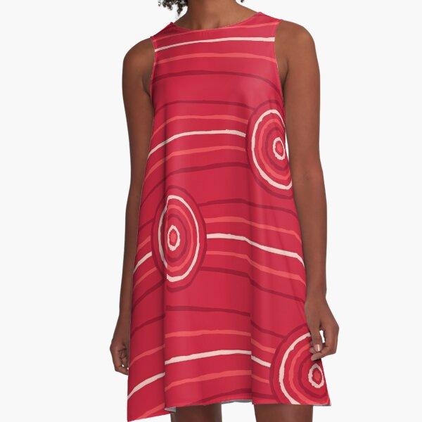 Waratah Australian Aboriginal Line and Circle Painting A-Line Dress