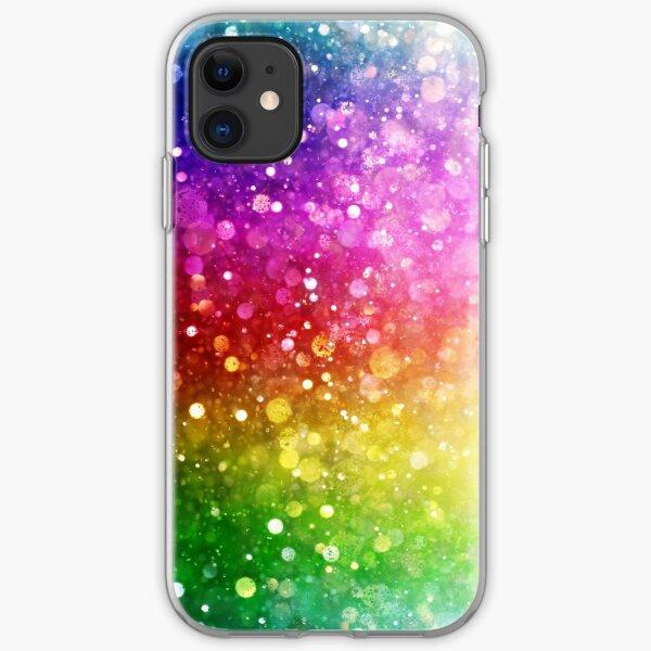 Bright Rainbow Colors Modern Bokeh Glitter  iPhone Soft Case