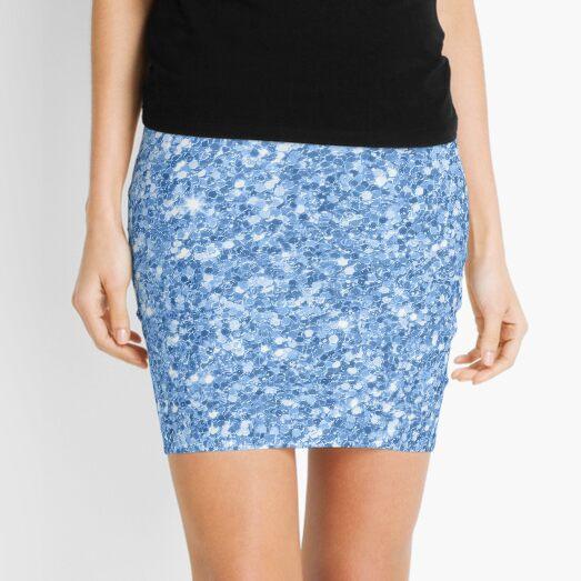 Blue Glitter And Sparkles Mini Skirt