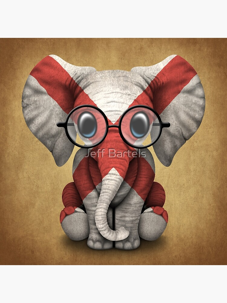 Baby Elephant with Glasses and Alabama Flag by JeffBartels