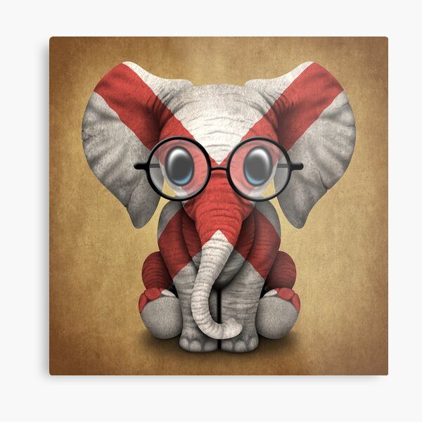 Baby Elephant with Glasses and Alabama Flag Metal Print