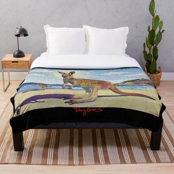 Kangaroos on beach  Throw Blanket