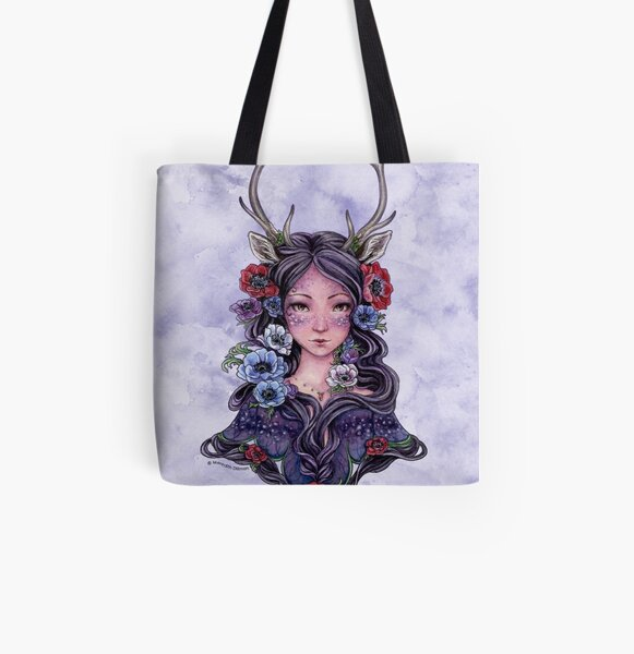 Dark Faun Girl with Flowers All Over Print Tote Bag