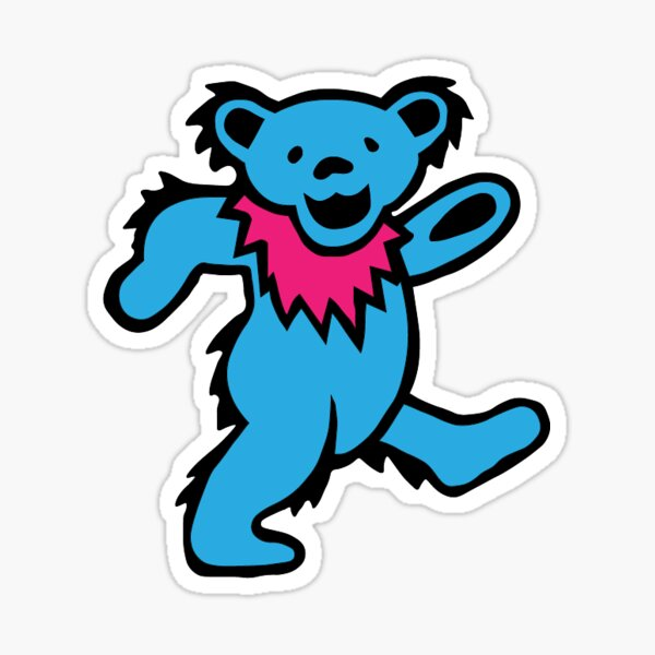 Blue and Pink Dancing Bear Sticker