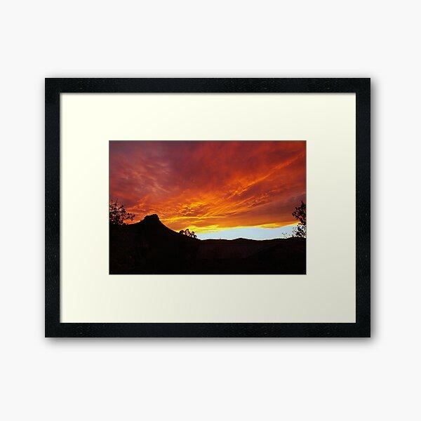 Fiery Sky Over Thumb Butte Framed Art Print