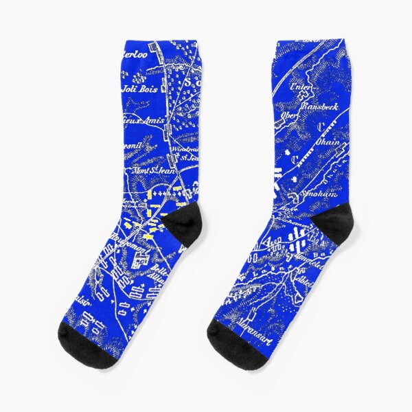 Napoleons Last Stand Waterloo Blue Socks