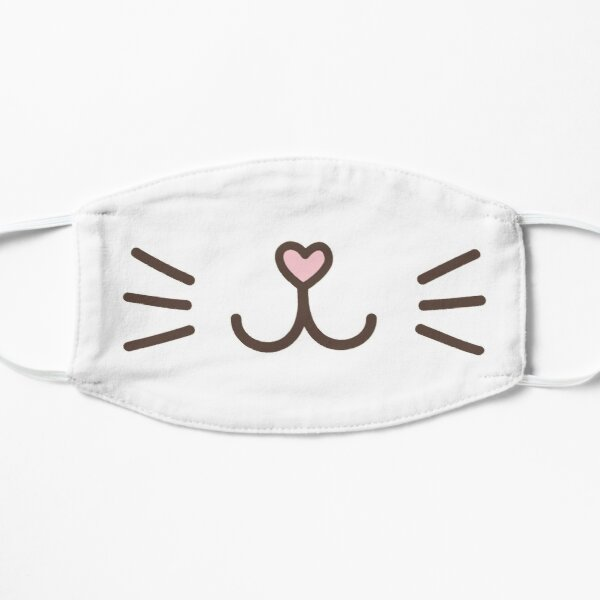 Cute Cat Face with Pink Heart Nose Mask