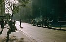 Evening Collins Street tram stop 19570100 0000 by Fred Mitchell
