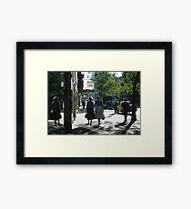 Collins street in morning beside Feltex shop 19570106 0000 Framed Print