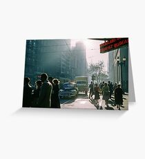 Cnr Collins Elizabeth Streets at end of shopping day 19570416 0001 Greeting Card