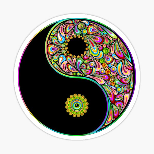 Yin Yang Symbol Psychedelic Art Design Sticker