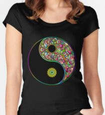 Yin Yang Symbol Psychedelic Art Design Women's Fitted Scoop T-Shirt