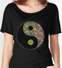 Yin Yang Symbol Psychedelic Art Design Women's Relaxed Fit T-Shirt