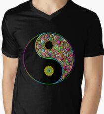 Yin Yang Symbol Psychedelic Art Design Men's V-Neck T-Shirt