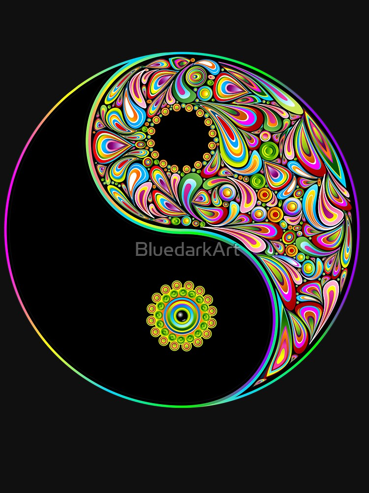 Yin Yang Symbol Psychedelic Art Design T Shirt By Bluedarkart