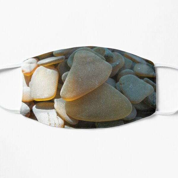 Sunlit Brown and Honey Amber Sea Glass Pieces Mask