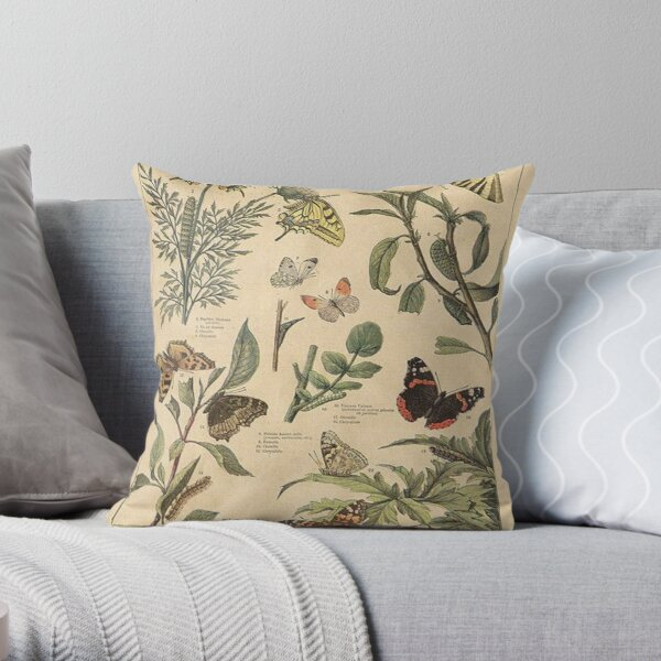 vintage butterfly print Throw Pillow