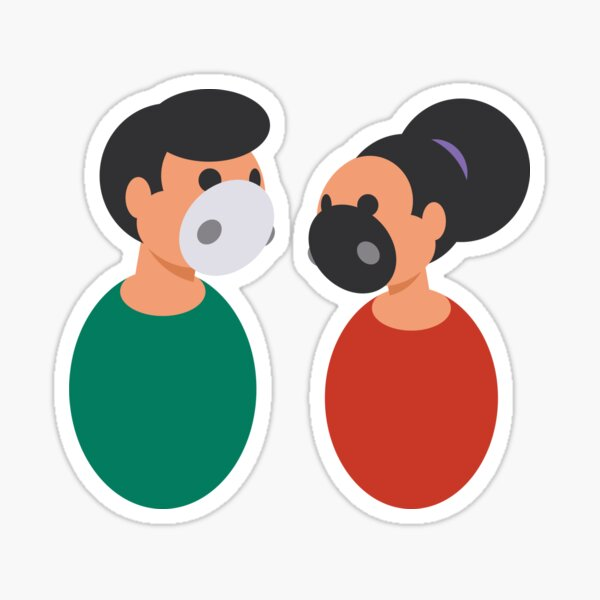 Man and woman with face masks Sticker