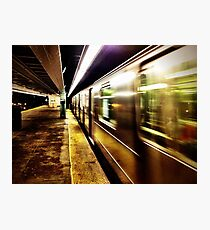 Elevated Subway at Night Photographic Print