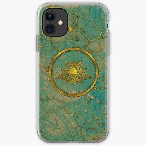 Elegant  Gold Lotus flower on marble iPhone Soft Case