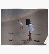 Girl And Heron - Muchacha Y Garza Blanca Poster