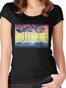 Tree line sunset Women's Fitted Scoop T-Shirt