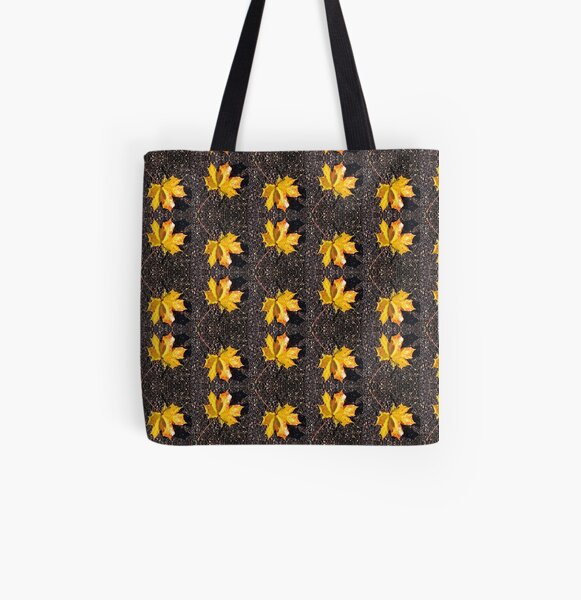 Yellow Leaf Pattern All Over Print Tote Bag