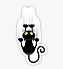 Black Cat Cartoon Scratching Wall Sticker