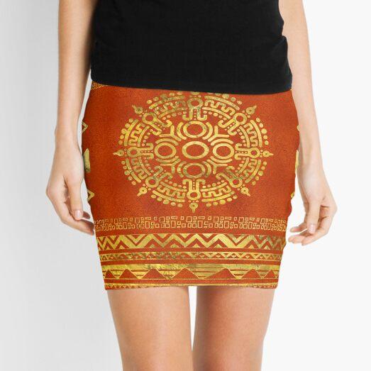 Gold Aztec Calendar Sun symbol Minifalda
