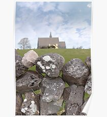 ballyvaughan stone wall and church Poster