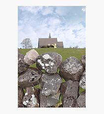 ballyvaughan stone wall and church Photographic Print