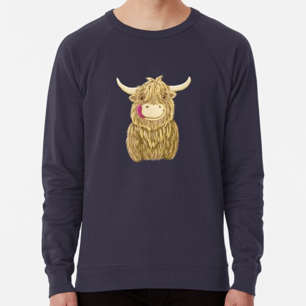 Cartoon Scottish Highland Cow Lightweight Sweatshirt