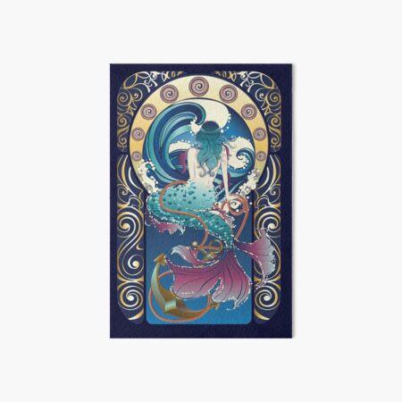 Blue Mermaid art nouveau Art Board Print