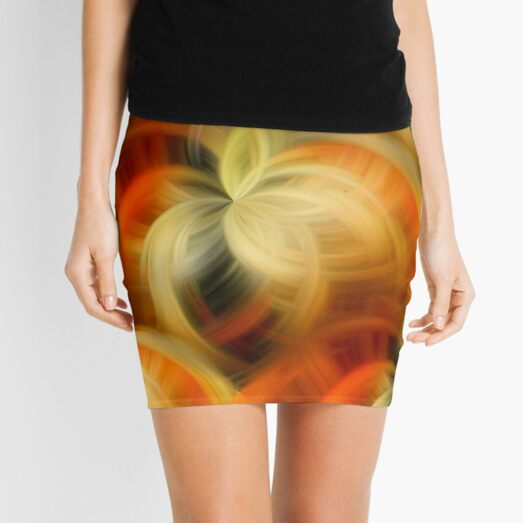 Orange And Cream Abstract Fantasy Art Mini Skirt
