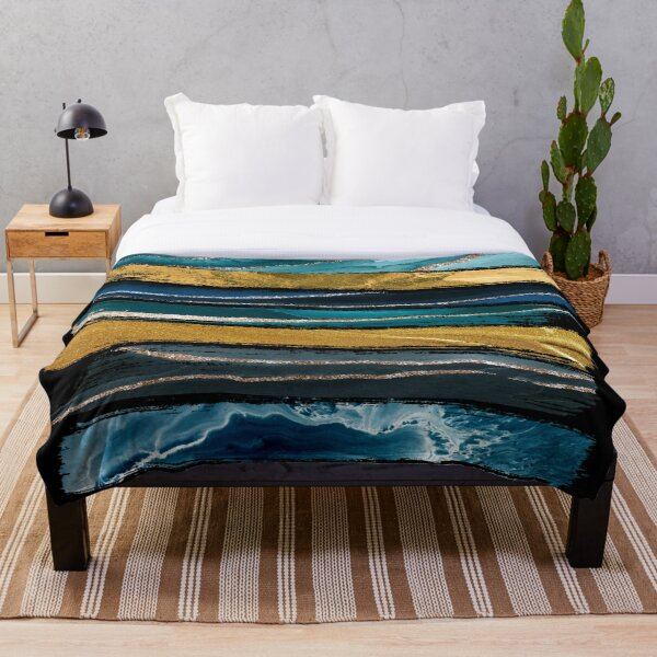 Abstract Teal and Gold Brushstroke Throw Blanket