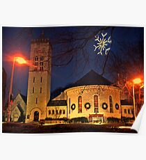 Morristown Church at Christmas, twilight Poster